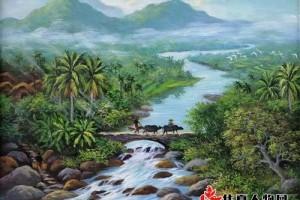 椰林深处有人家——陈德雄田园风光油画赏析